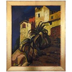 Art Deco painting Italian village with palm tree Cesare Bonanomi 1930