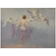 Art Deco Painting Nude with Swans by Lynn Bogue Hunt, 1930