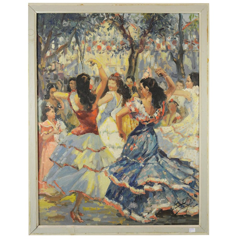Art Deco Painting of Spanish Dancer by Yves Diey For Sale