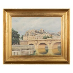 Art Deco Painting of the Pont Neuf, Paris