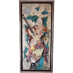 Art Deco Painting Pierrot Columbine Music Playing Carts Gaston Andre 1925 France
