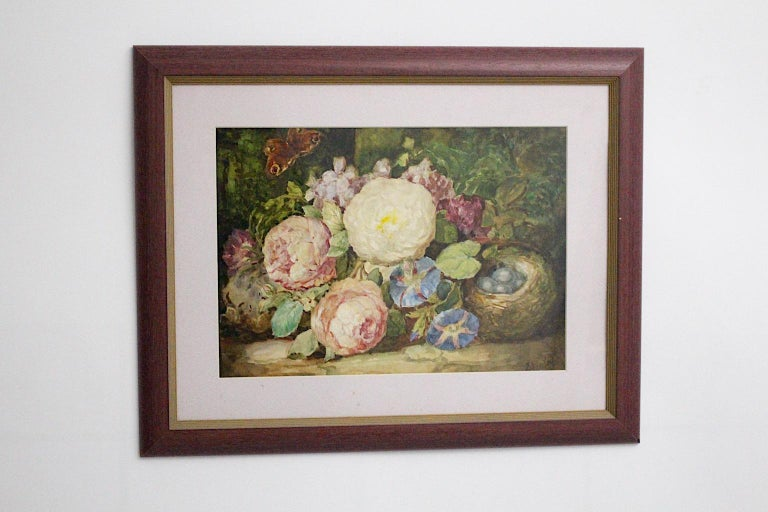 Art Deco painting watercolor on cardboard with passe-partout under glass framed, by Emil Fiala, shows the amazing scene still life with flowers and butterfly in pastel tone colors. Emil Fiala ( 1869 - 1960 ) was a member of the Austrian