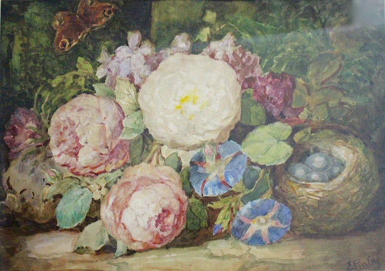 Austrian Art Deco Painting Pink Green Blue Flowers with Butterfly Emil Fiala Vienna 1930s For Sale