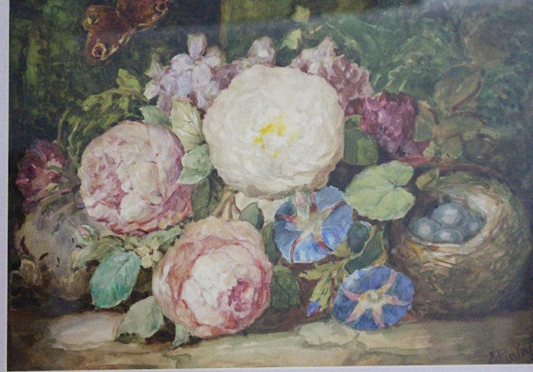 Art Deco Painting Pink Green Blue Flowers with Butterfly Emil Fiala Vienna 1930s In Good Condition For Sale In Vienna, AT