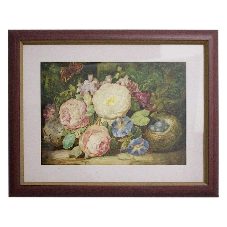 Art Deco Painting Pink Green Blue Flowers with Butterfly Emil Fiala Vienna 1930s For Sale