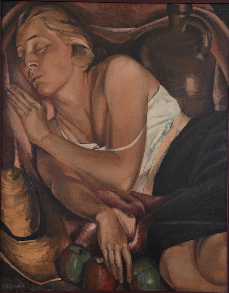 """Beautiful Art Deco painting """"La dormeuse aux trois pommes"""