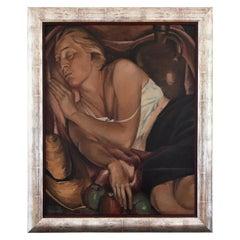 Art Deco Painting Sleeping Woman with 3 Apples Jean Joseph Hoslet