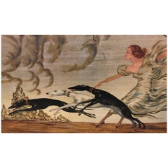 Art Deco Painting Woman and 3 Greyhounds by Yves