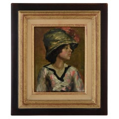 Art Deco Painting Young Woman with Hat French School France 1920