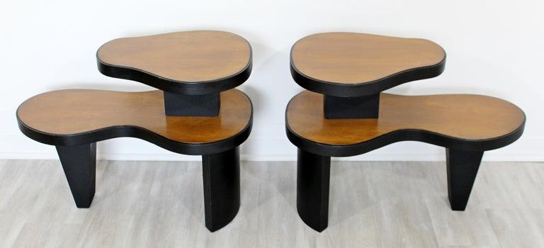 Mid-20th Century Art Deco Pair 2 Tier Kidney Amoeba Shaped Side End Tables 1940s Rhode Deskey Era For Sale