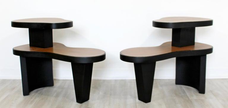 Art Deco Pair 2 Tier Kidney Amoeba Shaped Side End Tables 1940s Rhode Deskey Era For Sale 1