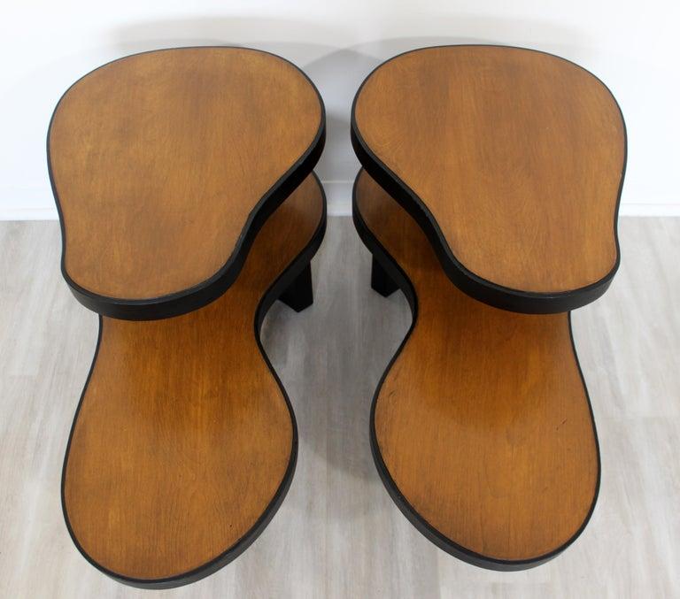 Art Deco Pair 2 Tier Kidney Amoeba Shaped Side End Tables 1940s Rhode Deskey Era For Sale 2