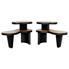 Art Deco Pair 2 Tier Kidney Amoeba Shaped Side End Tables 1940s Rhode Deskey Era