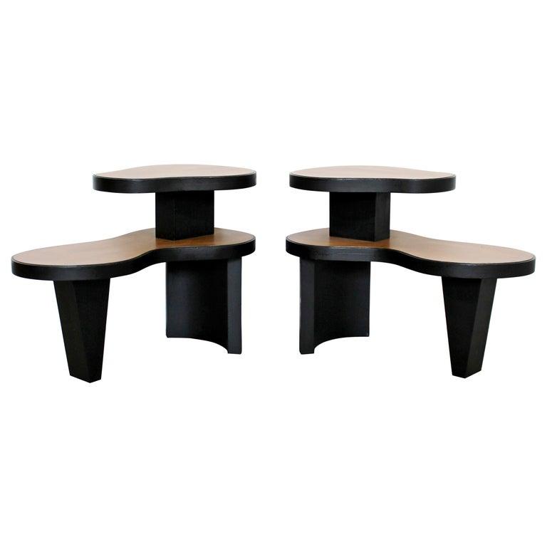 Art Deco Pair 2 Tier Kidney Amoeba Shaped Side End Tables 1940s Rhode Deskey Era For Sale