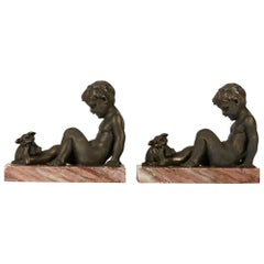 Art Deco Pair of Boy and Puppy Metal Bookends, 1930s