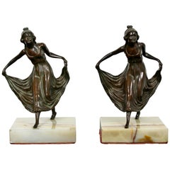 Art Deco Pair Bronze on Marble Bookends Girls Dancing Table Sculptures, 1920s