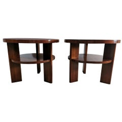 Art Deco Pair of Italian Coffee Tables in Walnut with Black Glass Top