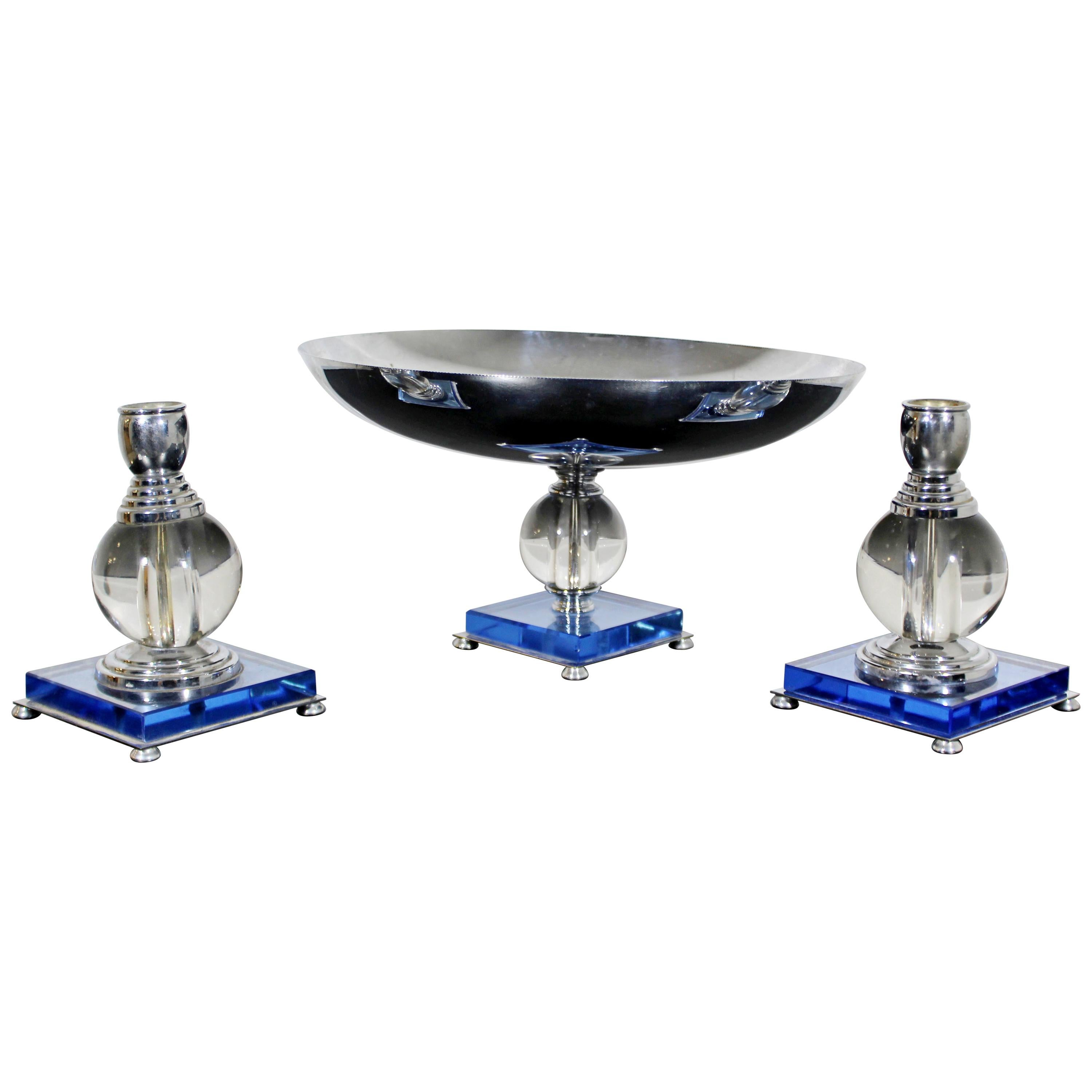 Art Deco Pair Mautner Farber Chromium-Plated Candleholders and Serving Dish Blue