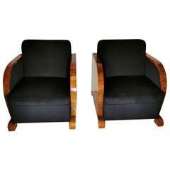 Art Deco Pair of Austrian Armchairs in Walnut and Velvet Worked Black, 1925