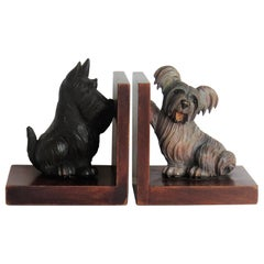 Art Deco Pair of Bookends Hardwood with Terrier Dog Figures, circa 1930