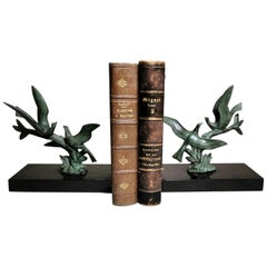 Art Deco Pair of Bookends with Metal Birds and Marble Marquinia, 1925
