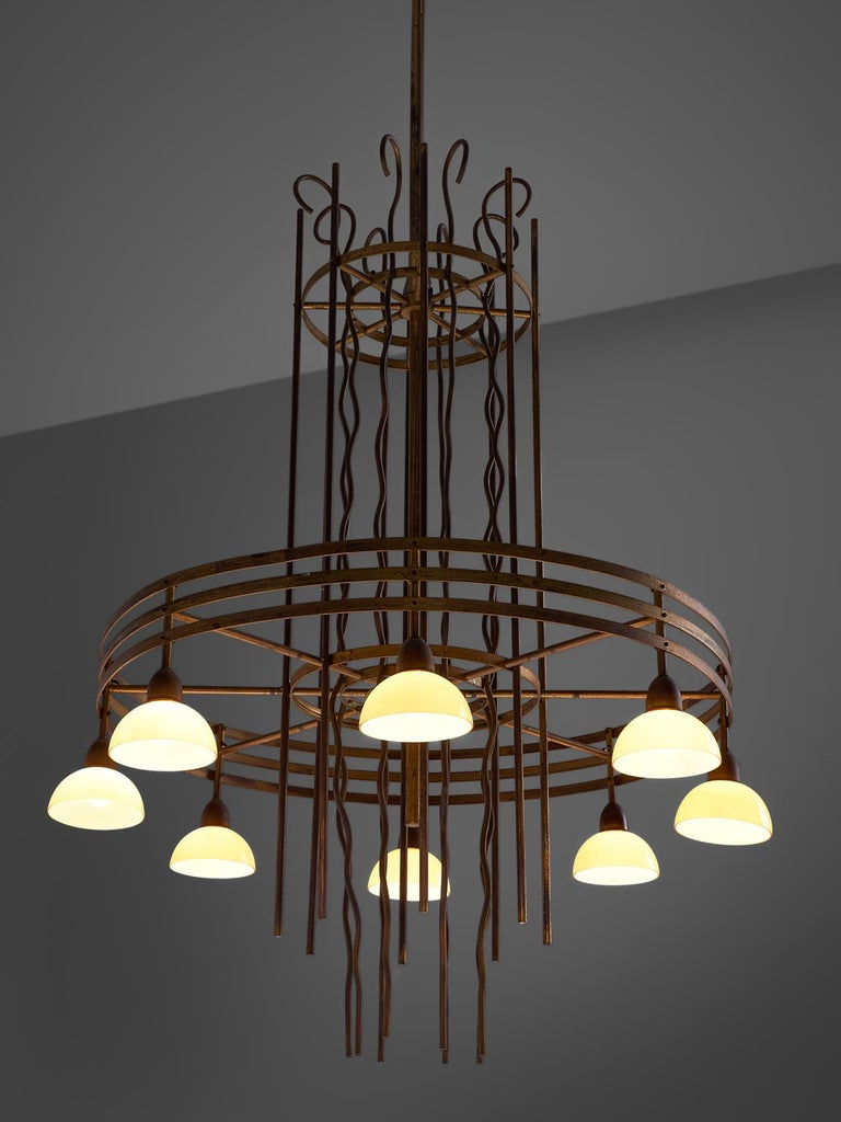 Mid-20th Century Art Deco Pair of Brass Chandelier, Sweden, 1930s For Sale