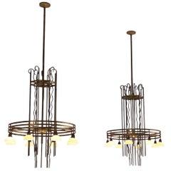Art Deco Pair of Brass Chandelier, Sweden, 1930s