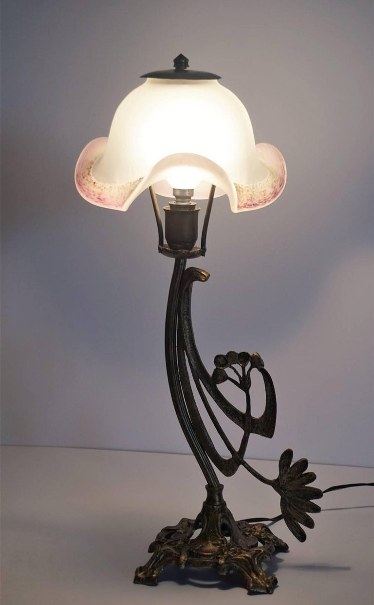 Art Deco Pair of Bronze Table Lamps with Art Glass Shades For Sale 4