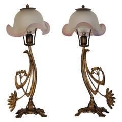 Art Deco Pair of Bronze Table Lamps with Art Glass Shades