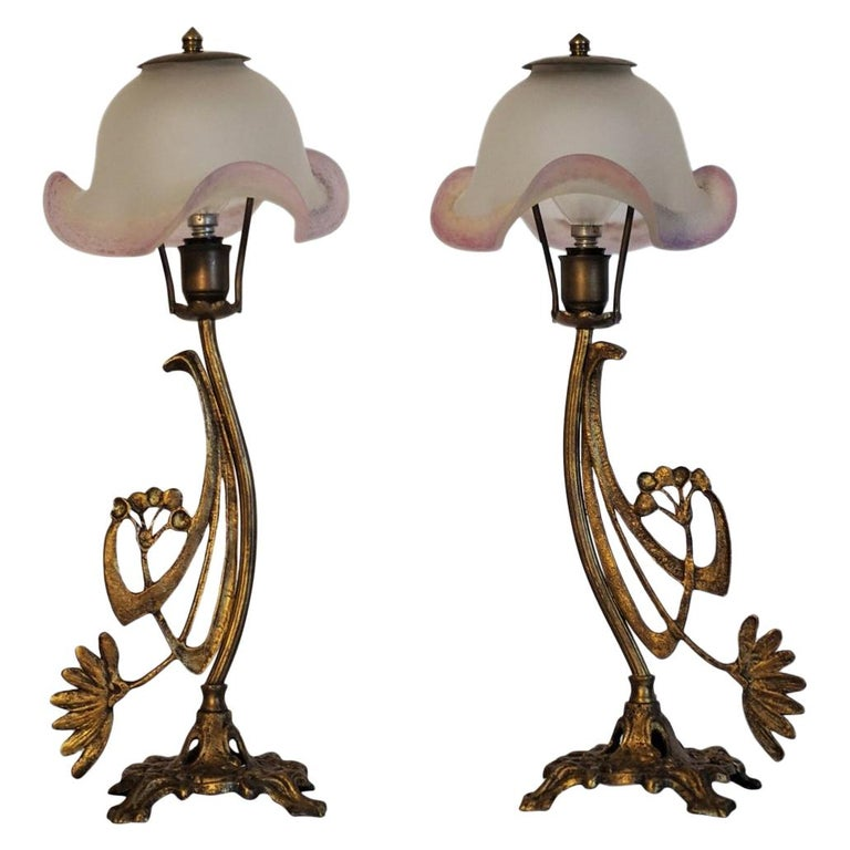 Art Deco Pair of Bronze Table Lamps with Art Glass Shades For Sale