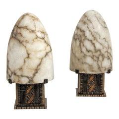 Art Deco Pair of Bullet-Shape Lamps