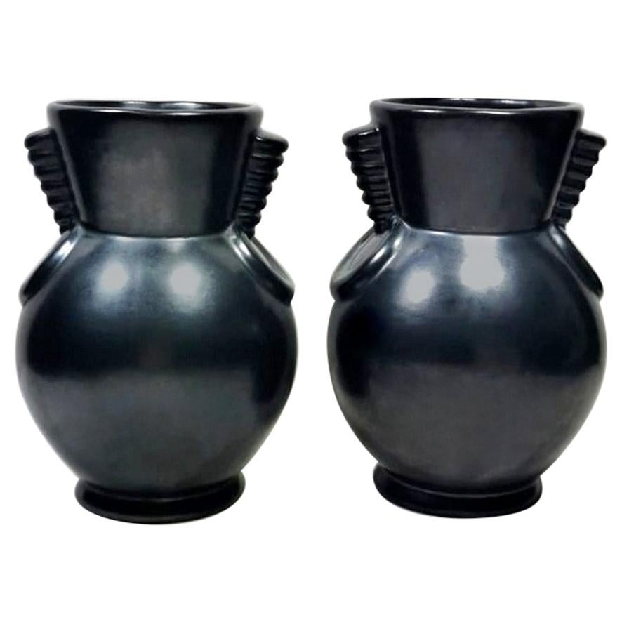 Art Deco Pair of Ceramic Vases Anthracite Blanche Letalle St Clement France