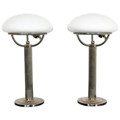 Art Deco Pair of Chrome & Glass Table Lamps, Adolf Loos, Early 20th Century 1910