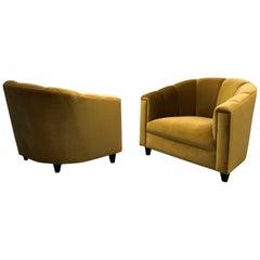 Art Deco Style Pair of Club Chairs, Golden Velvet, by Watt Studio