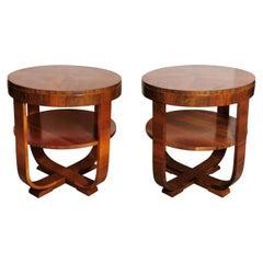 Art Deco Pair of Coffee Tables in Walnut, Austria, 1930