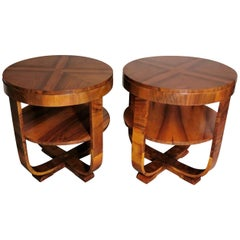 Art Deco Pair of Coffee Tables in Walnut, Austria, 1930
