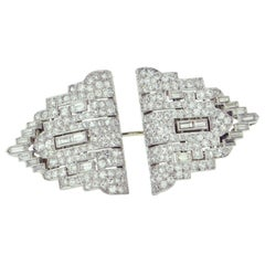 Art Deco Diamond Platinum and White Gold Clips / Brooch