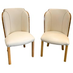 Art Deco Pair of Epstein Cloud Chairs in Figured Walnut