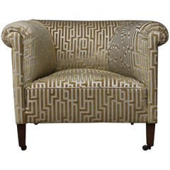 Art Deco Pair of Extra Large Roller Armchairs Re-Upholstered in Fendi Fabric