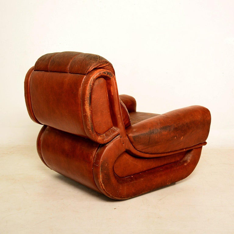 Faux Leather Art Deco Pair of French Armchairs For Sale