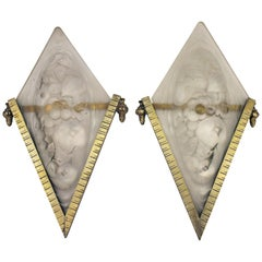 Art Deco Pair of French Bronze and Glass Wall Lights, circa 1930