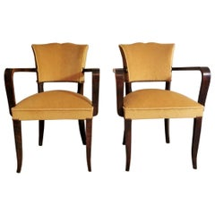 Art Deco Pair of French Chairs with Armrests