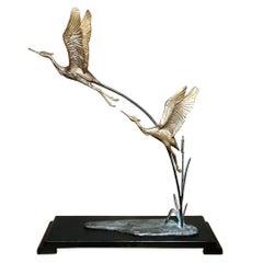 Art Deco Pair of Gilded Bronze Herons on Wood Base, France.