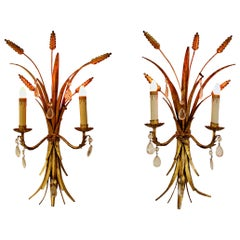 Art Deco Pair of Italian Gold Gilt Wheat Sheath Wall Sconces Light Fixtures