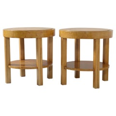 Art Deco Pair of Italian Round Precious Wood Side Tables Double Shelves