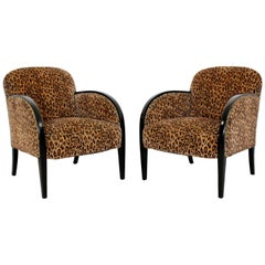 Art Deco Pair of Leopard Print and Black Lacquered Wood Lounge Club Armchairs