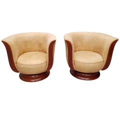 "Art Deco Pair of Lounge Chairs for Hotel ""Le Malandre"""
