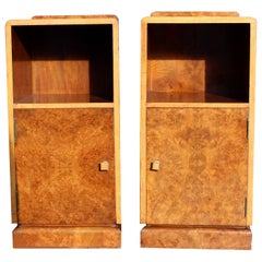 Art Deco Pair of Matching Walnut Bedside Nightstand Cabinets, C 1930