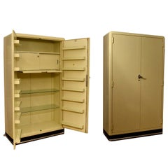 Art Deco Pair of Modernist Industrial Cream Metal Pharmaceutical Cabinets