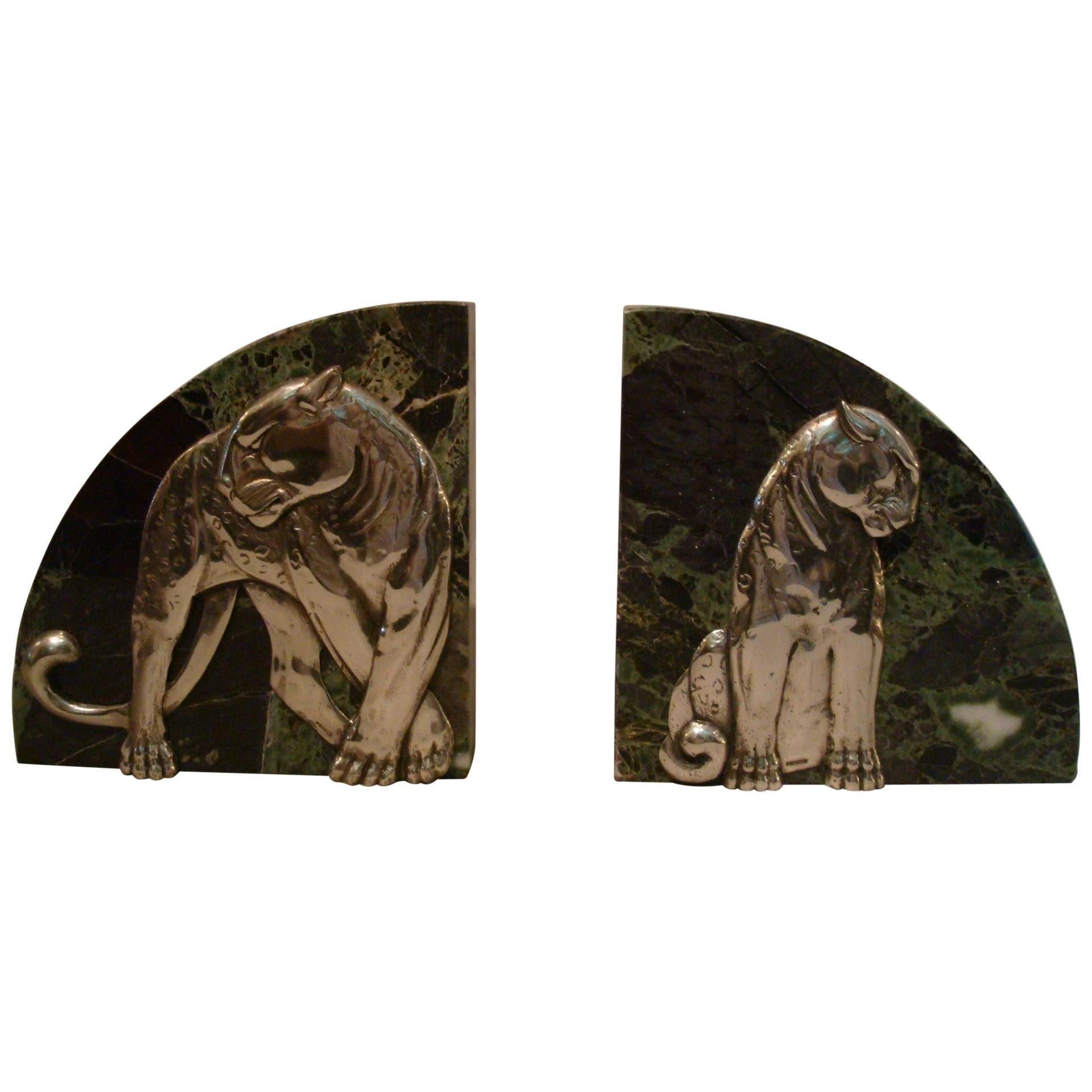 Art Deco Pair of Panther Bookends, Silvered Bronze and Marble - France, 1920s